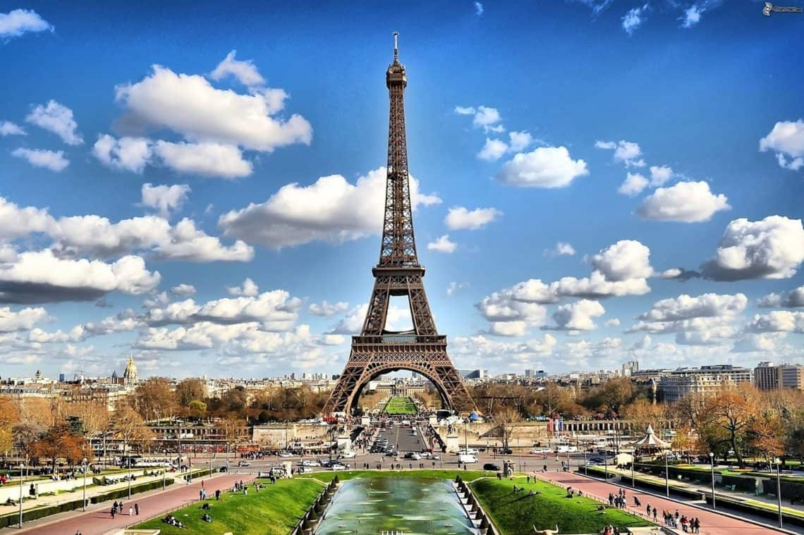 Eiffel tower in Paris France with clouds