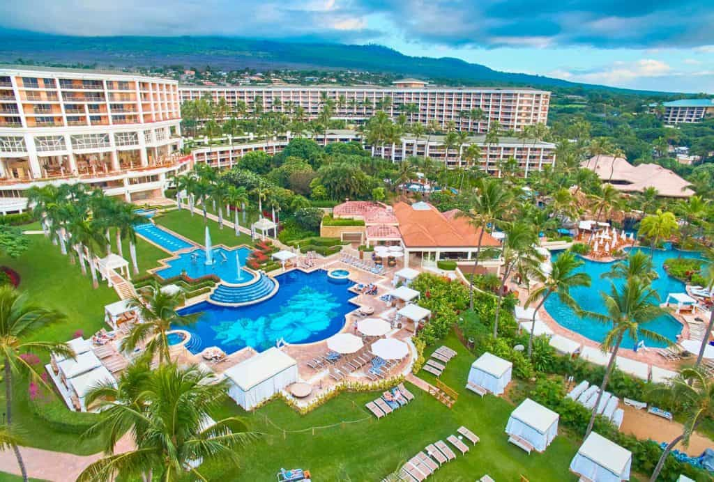 Aerial view of swimming pools at Grand Wailea a Waldorf Astoria Resort