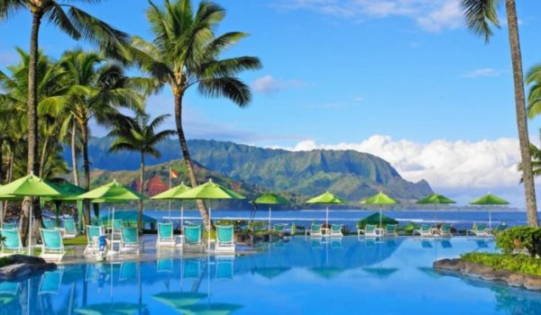 Pool at Princeville Resort with palm trees in Kauai Hawaii