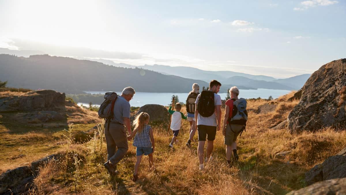 Multi generation family hiking near lake district uk