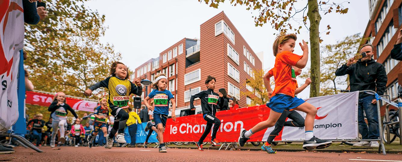 Children running the Kids Run at TCS Marathon in Amsterdam