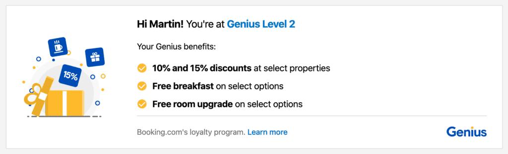 screenshot of Booking.com Genius Level 2 discount confirmation