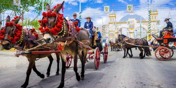 Horse carriages during April Fair, Feria de Abril in Seville Spain