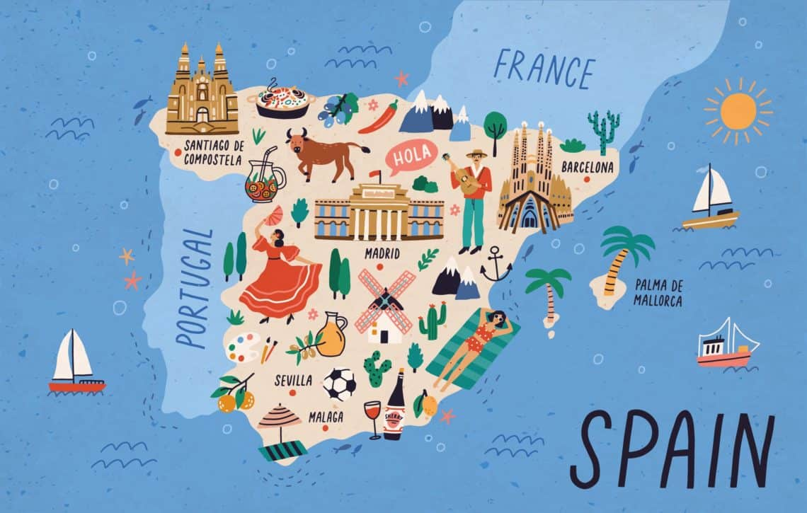 Map of Spain with touristic landmarks, sights, and national symbols like flamenco dancer, cathedrals, paella, sangria, bull, man playing guitar
