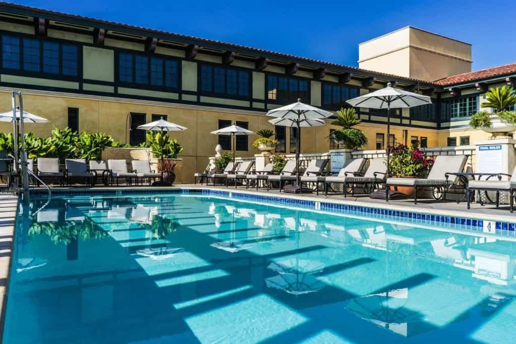 Rooftop hotel pool at Hotel Valencia Santana Row San Jose California USA with sunshine