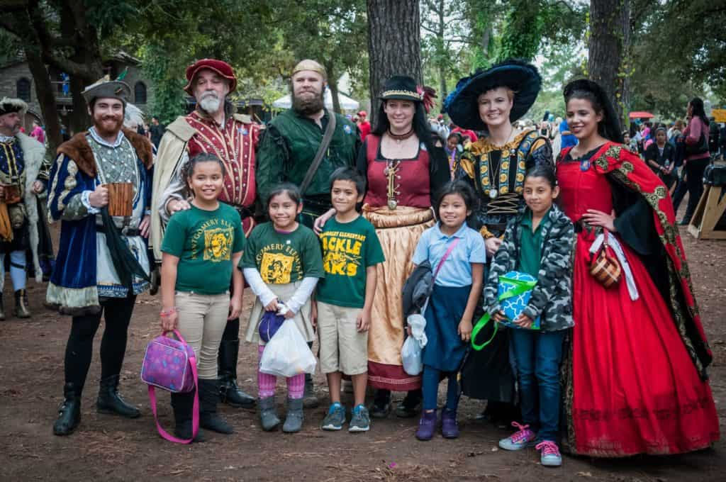 Visitors and staff at the Texas Renaissance Festival in Todd Mission, Texas