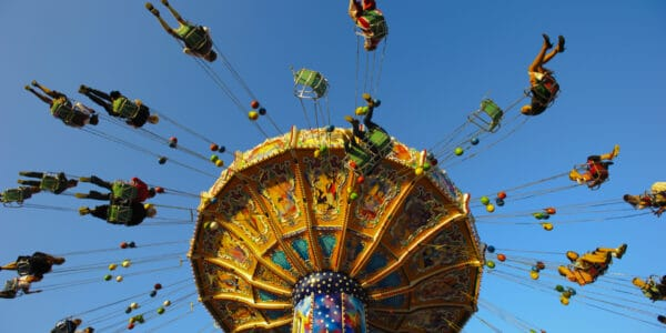 Colorful carousel at Oktoberfest in Munich Germany