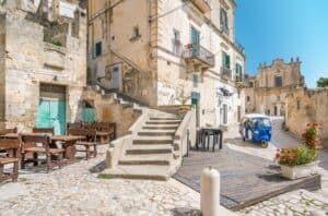 Scenic stairs in Matera Italy's Old Town, Sassi di Matera