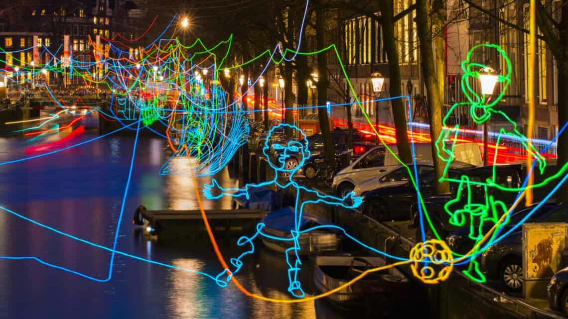 Colorful kids figures at the Amsterdam Light Festival Holland Netherlands