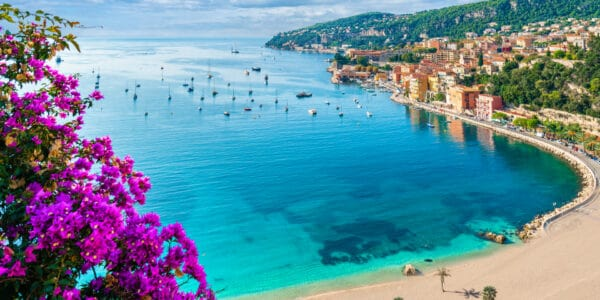 View of Villefrance sur Mer near Nice on the French Riviera in France