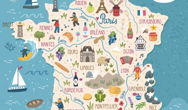 Map of France with regions and best time to visit