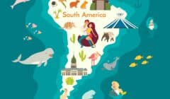 Cartoon map of South America with top activities