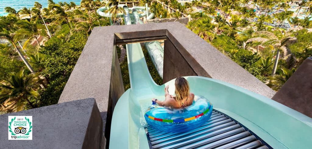 Thrilling slide at Aquaventure Atlantis in the Bahamas, the second largest water park in the world, and the biggest in the Caribbean