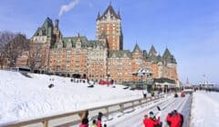Chateau Frontenac in Quebec City with traditional slide
