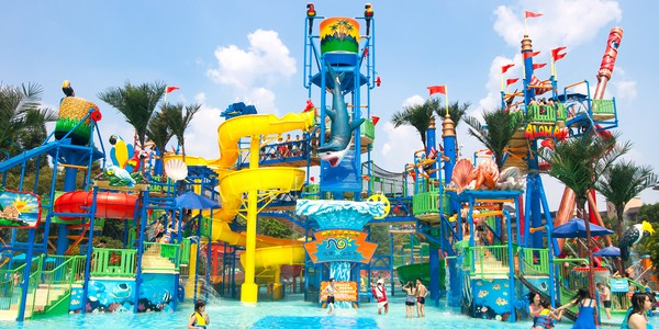 Colorful view of Chimelong Water Park in China, the largest and biggest waterpark in the world