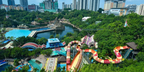 Aerial view of Sunway Lagoon, Malaysia, the largest water park in Southeast Asia, and one of the largest in the world