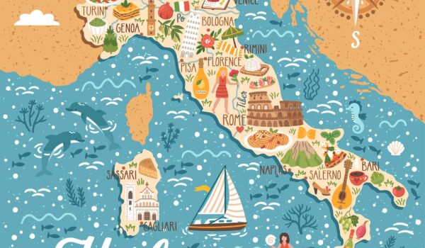 Map of Italy with sightseeing highlights