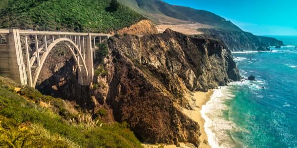 Bridge at Big Sur, California with coastal view