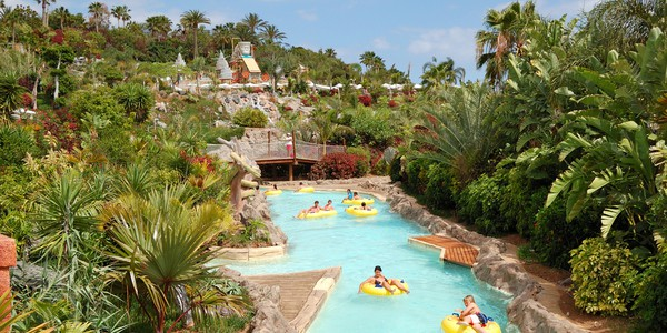 View of lazy river in Siam Park on the Costa Adeje in Tenerife, Spain - one of the largest waterparks in the world