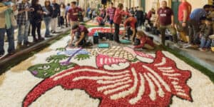 Men working at the Flower Festival in Noto, Sicily, Italy - Infiorata