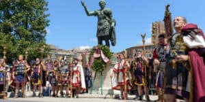 Centurions, soldiers, legions, senators and virgins in Fori Imperiali street, Rome, Italy during City Birthday celebrations