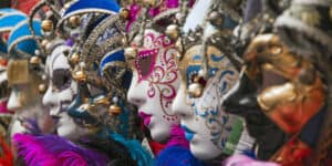 Colorful masks at Venice Carnival Italy