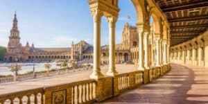 View of Plaza Espana in Seville Andalusia, Spain