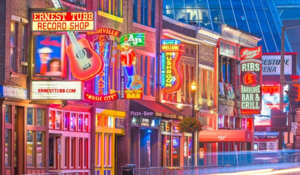 Honky-tonks on Lower Broadway in Nashville, Tennessee. District is famous for country music entertainment establishments.