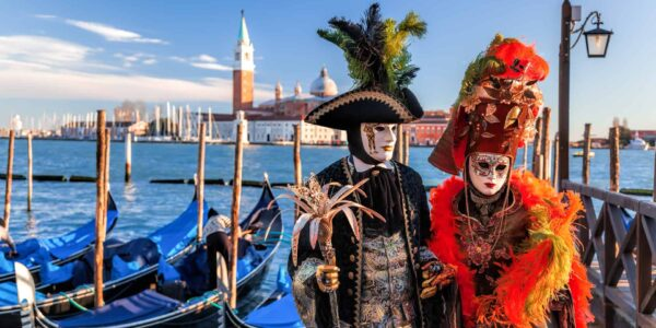 Colorful carnival masks in Venice, Italy with St Mark Basilica in background