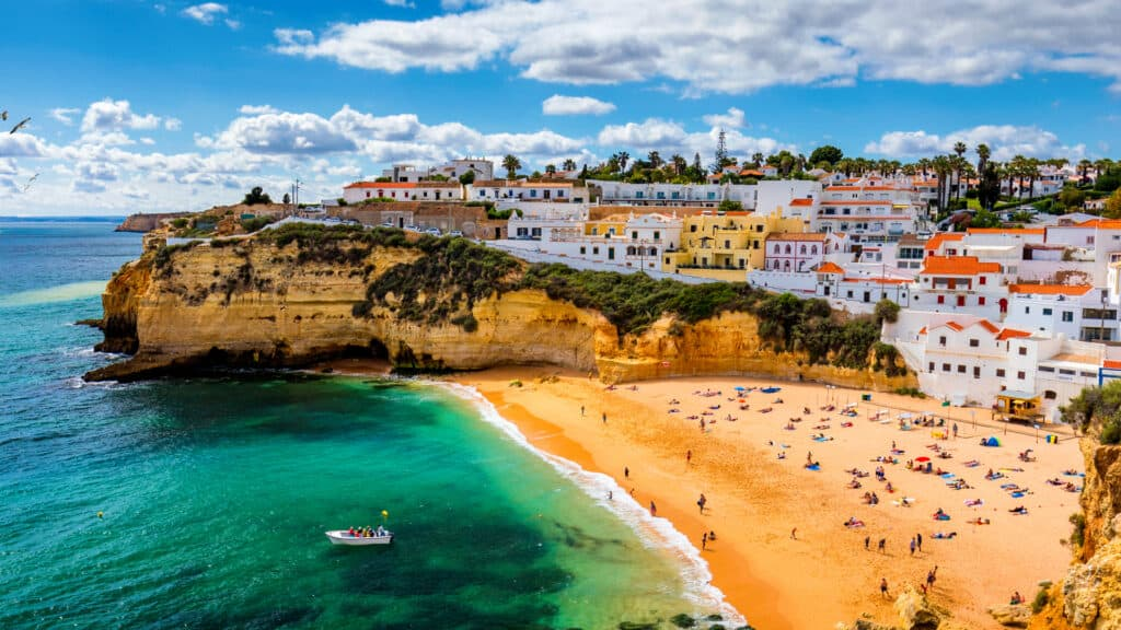 Aerial view of beach in Carvoeiro fishing village at the Algarve in Portugal