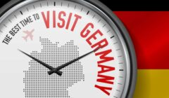 Map and flag of Germany and a clock saying the best time to visit Germany