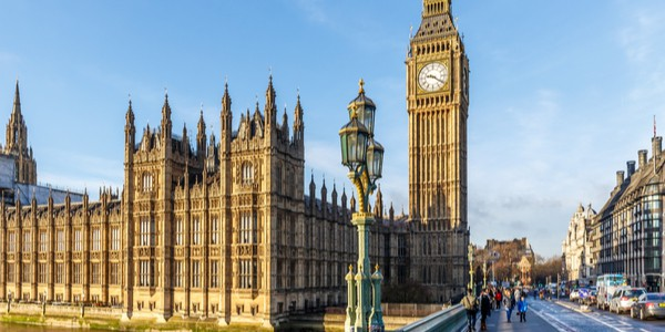 View of big ben and houses of parliament in London, England, U.K.