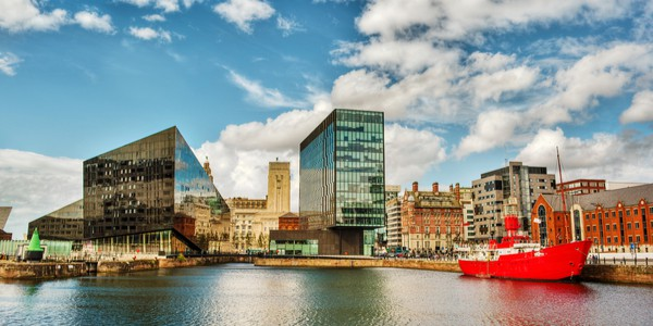 River Mersey and buildings in Liverpool, England, U.K.