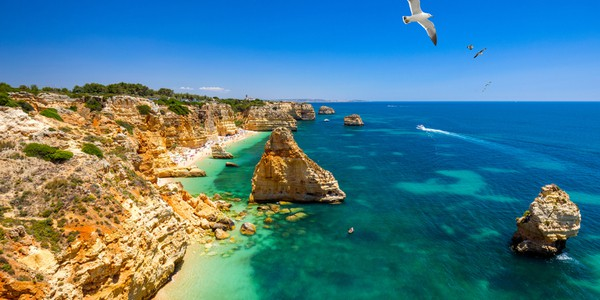 Famous Marinha Beach in the Algarve, Portugal