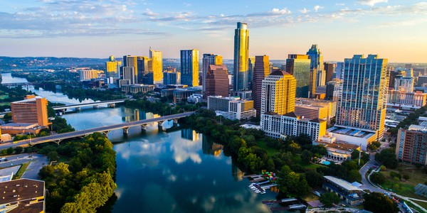 Aerial view of Austin, Texas skyline