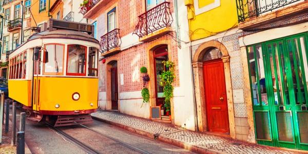 Yellow vintage tram in Lisbon, Portugal