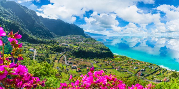 Aerial view of Madeira islands, Northern Coast, shot from the Solar de Boaventura Miradouro in Portugal
