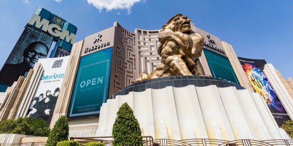 Famous lion in front of MGM resort in Las Vegas, Nevada, USA, one of the largest hotels in the world