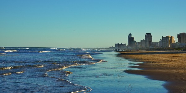 Beach with hotels at South Padre Island, Texas, USA
