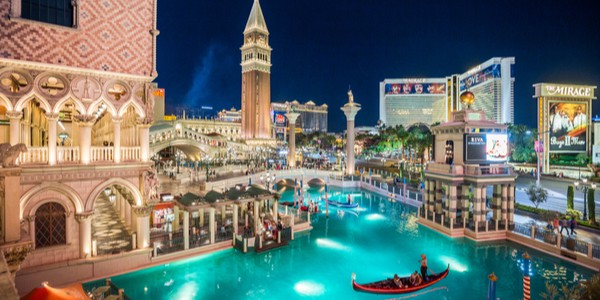 Night view of the Venetian hotel and resort with Mirage in the background in Las Vegas